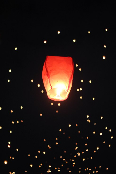 Floating lantern ceremony for Buddha's Birthday at Duryu Park