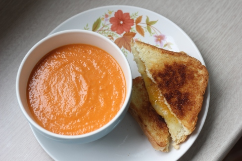 Homemade tomato soup and cheese toasties. Delish!